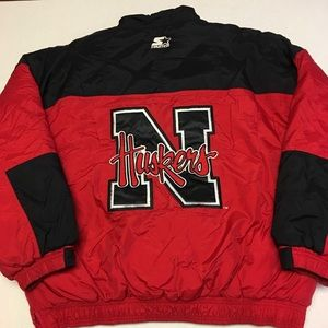 Vintage Starter Nebraska pullover logo jacket coat
